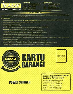 kartu garansi power sprayer ikame depan Power Sprayer
